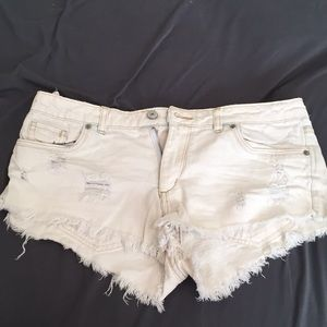 Divided White Jean Shorts